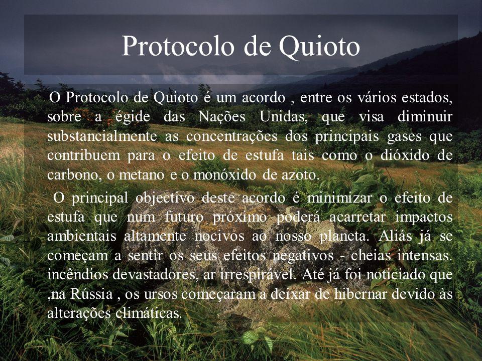 Protocolo de Quioto O Protocolo de Quioto é um acordo, entre os vários estados, sobre a égide das Nações Unidas, que visa diminuir substancialmente as