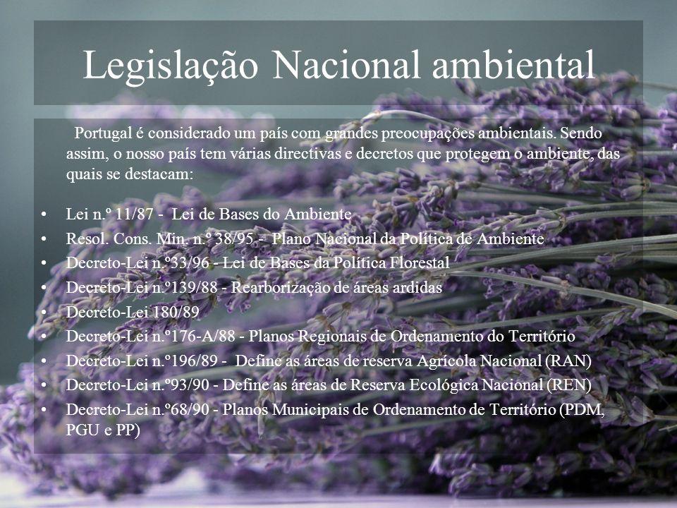 Legislação Nacional ambiental Portugal é considerado um país com grandes preocupações ambientais. Sendo assim, o nosso país tem várias directivas e de