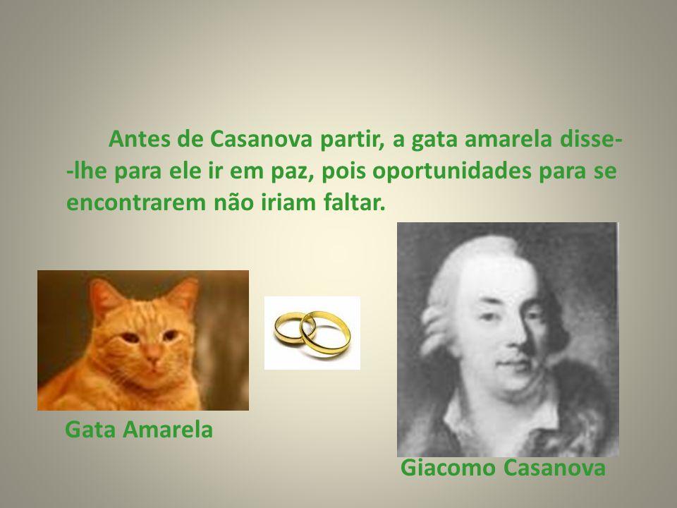 Antes de Casanova partir, a gata amarela disse- -lhe para ele ir em paz, pois oportunidades para se encontrarem não iriam faltar. Gata Amarela Giacomo