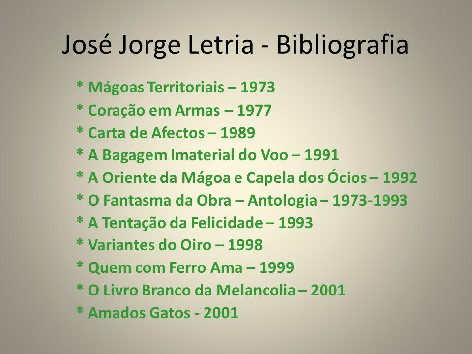 José Jorge Letria - Bibliografia * Mágoas Territoriais – 1973 * Coração em Armas – 1977 * Carta de Afectos – 1989 * A Bagagem Imaterial do Voo – 1991