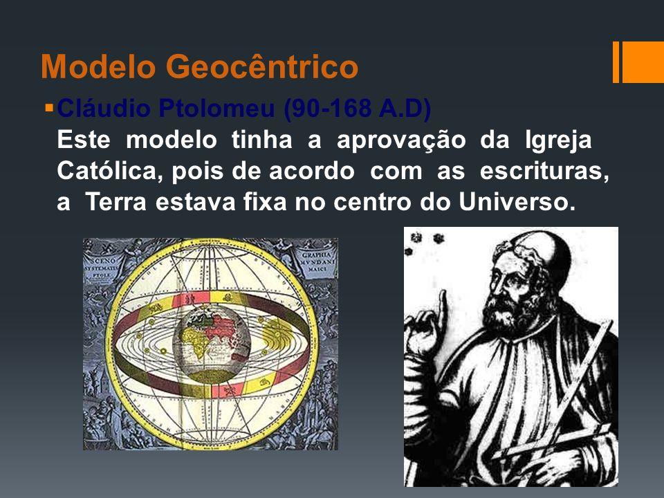 Modelo Geocêntrico Cláudio Ptolomeu (90-168 A.D) Este modelo tinha a aprovação da Igreja Católica, pois de acordo com as escrituras, a Terra estava fi