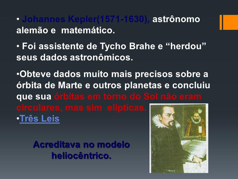 Johannes Kepler(1571-1630), astrônomo alemão e matemático. Foi assistente de Tycho Brahe e herdou seus dados astronômicos. Obteve dados muito mais pre