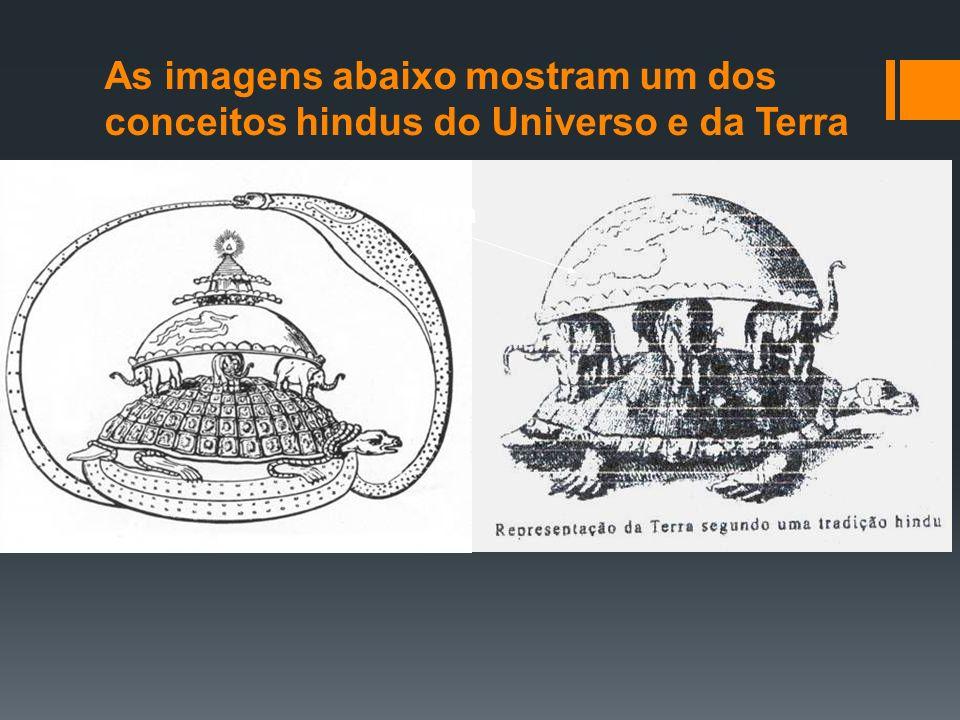 As imagens abaixo mostram um dos conceitos hindus do Universo e da Terra Terra