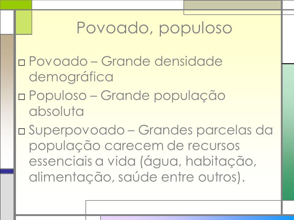 Povoado, populoso Povoado – Grande densidade demográfica Populoso – Grande população absoluta Superpovoado – Grandes parcelas da população carecem de