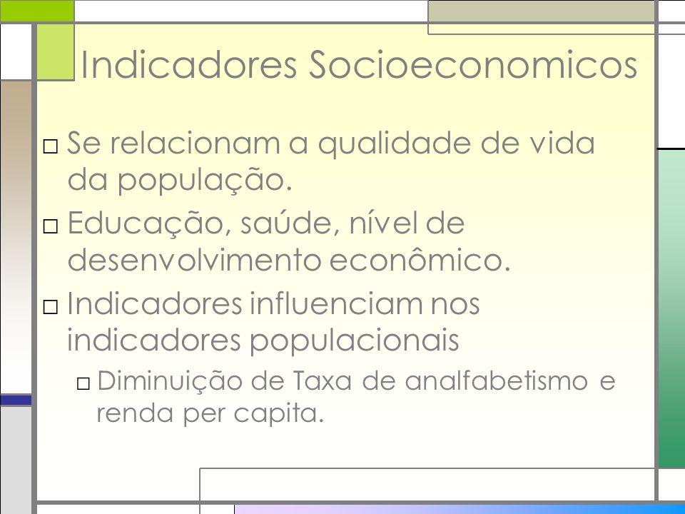 Indicadores Socioeconomicos Se relacionam a qualidade de vida da população. Educação, saúde, nível de desenvolvimento econômico. Indicadores influenci