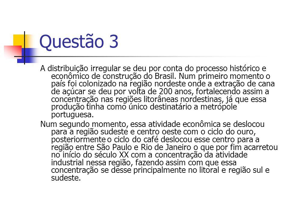 Questão 3 A distribuição irregular se deu por conta do processo histórico e econômico de construção do Brasil. Num primeiro momento o país foi coloniz