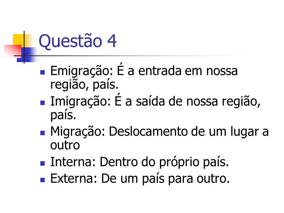 Questão 4 Emigração: É a entrada em nossa região, país. Imigração: É a saída de nossa região, país. Migração: Deslocamento de um lugar a outro Interna