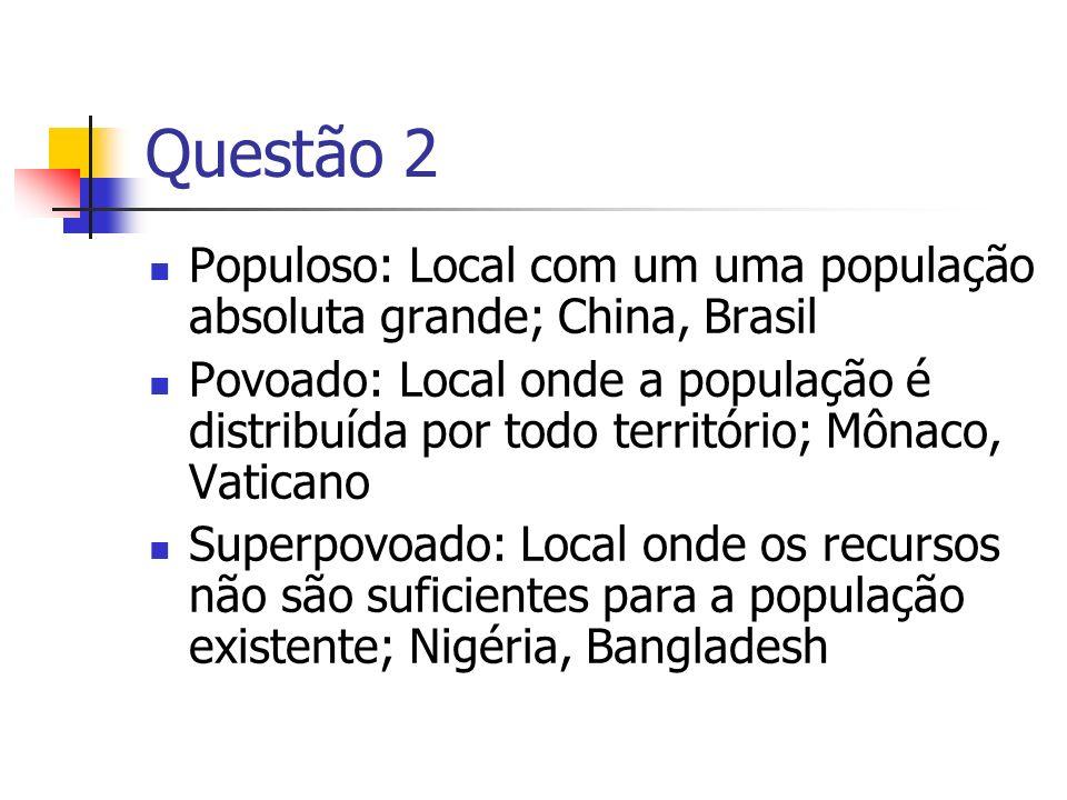 Questão 2 Populoso: Local com um uma população absoluta grande; China, Brasil Povoado: Local onde a população é distribuída por todo território; Mônac