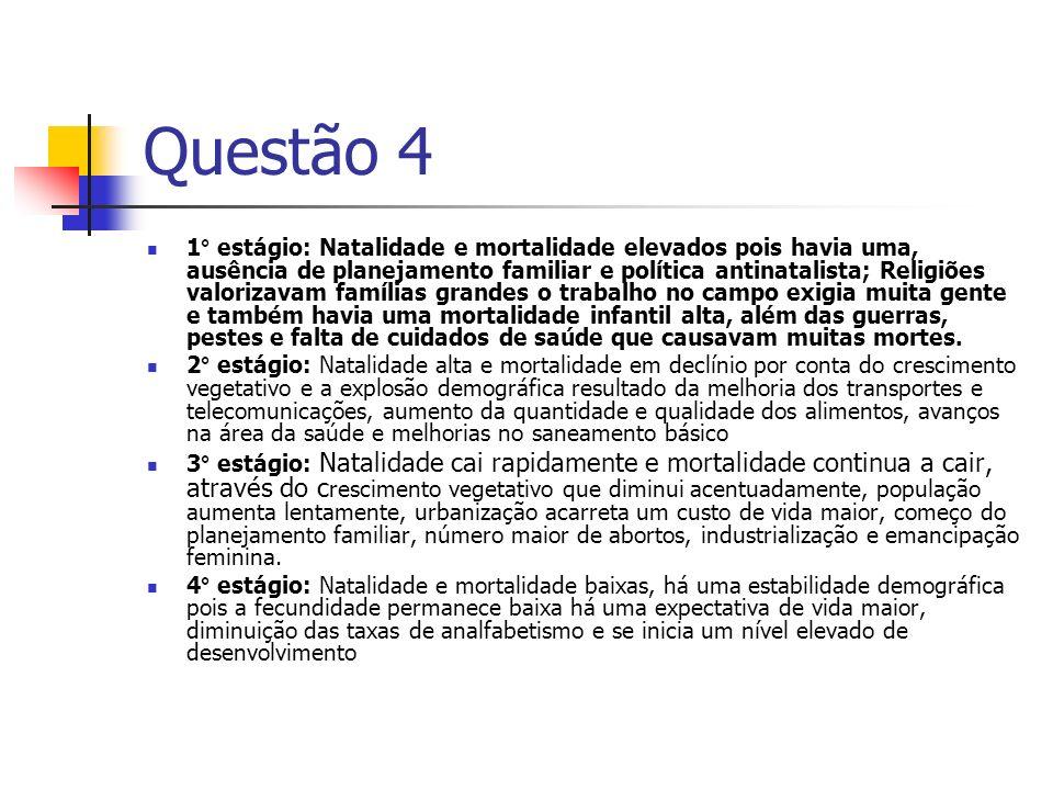 Questão 4 1° estágio: Natalidade e mortalidade elevados pois havia uma, ausência de planejamento familiar e política antinatalista; Religiões valoriza