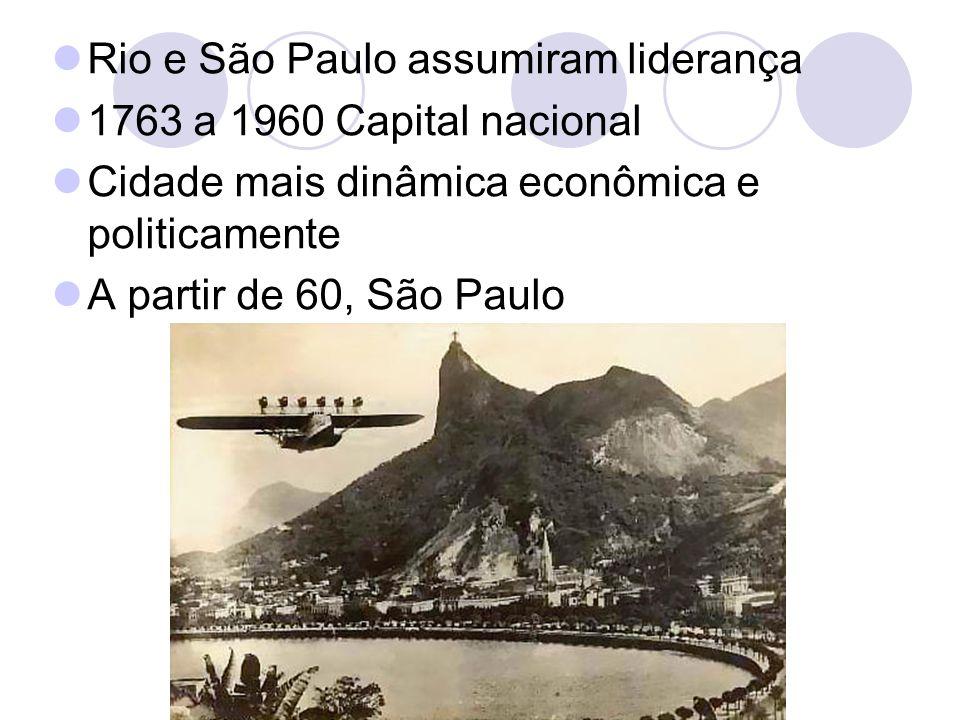Rio e São Paulo assumiram liderança 1763 a 1960 Capital nacional Cidade mais dinâmica econômica e politicamente A partir de 60, São Paulo