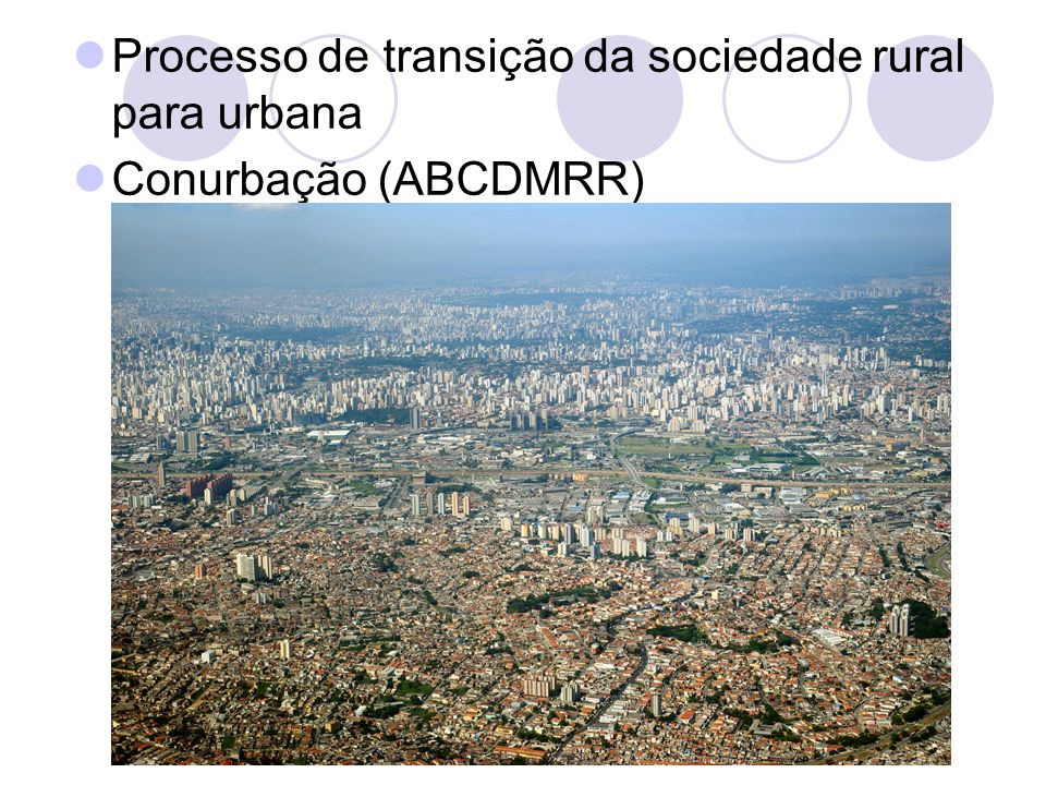 Processo de transição da sociedade rural para urbana Conurbação (ABCDMRR)