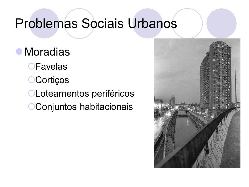 Problemas Sociais Urbanos Moradias Favelas Cortiços Loteamentos periféricos Conjuntos habitacionais