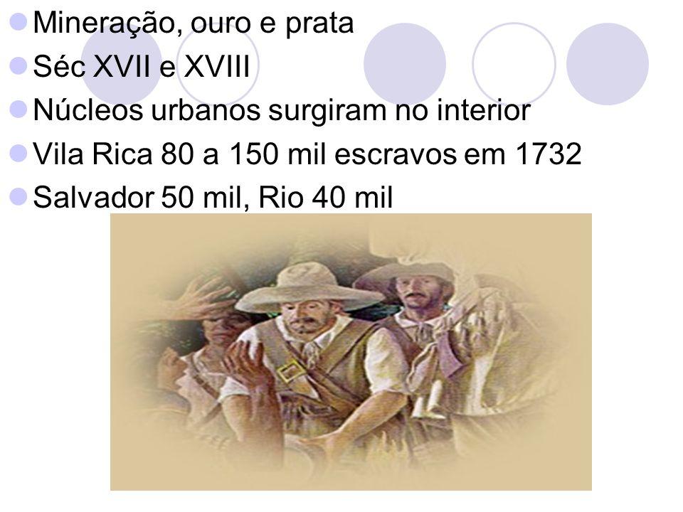 Mineração, ouro e prata Séc XVII e XVIII Núcleos urbanos surgiram no interior Vila Rica 80 a 150 mil escravos em 1732 Salvador 50 mil, Rio 40 mil