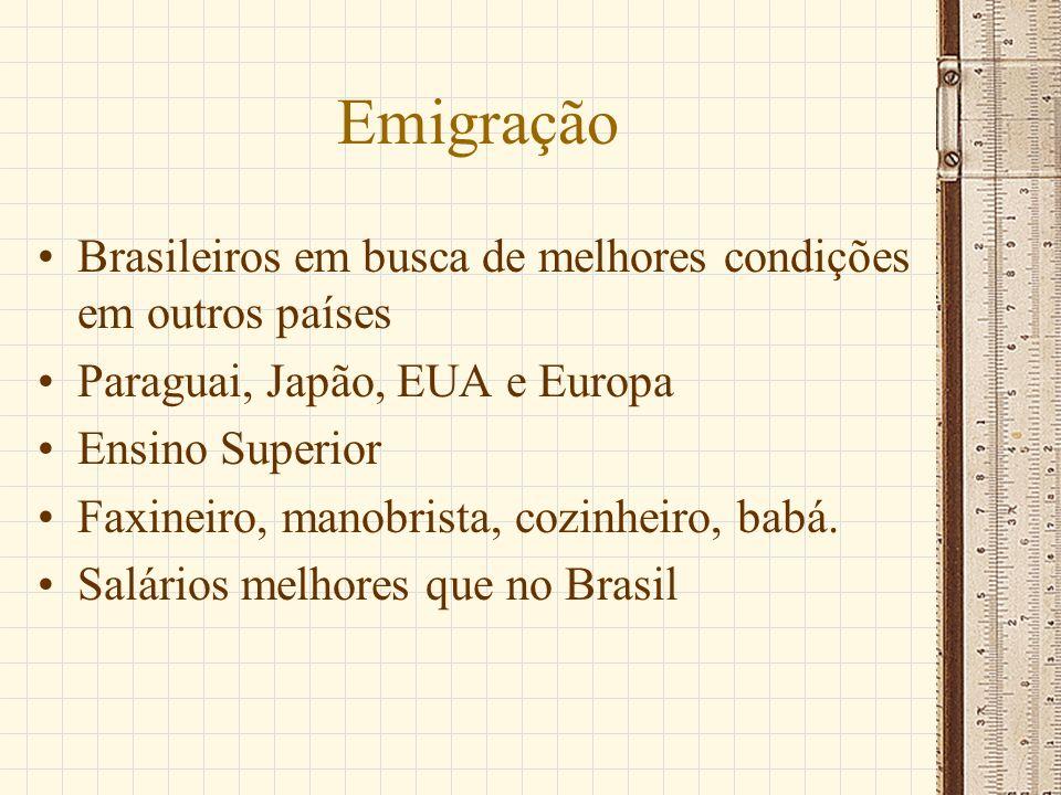 Emigração Brasileiros em busca de melhores condições em outros países Paraguai, Japão, EUA e Europa Ensino Superior Faxineiro, manobrista, cozinheiro,