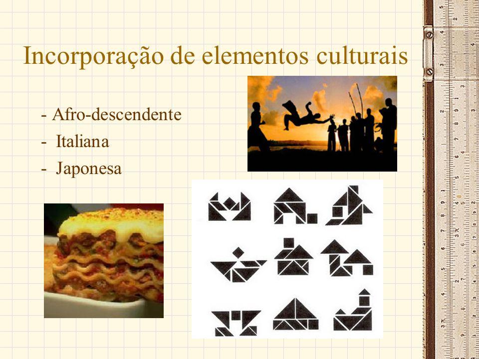 Incorporação de elementos culturais - Afro-descendente -Italiana -Japonesa
