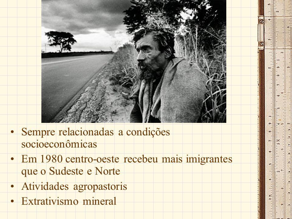 Sempre relacionadas a condições socioeconômicas Em 1980 centro-oeste recebeu mais imigrantes que o Sudeste e Norte Atividades agropastoris Extrativismo mineral