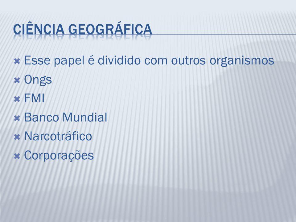 Esse papel é dividido com outros organismos Ongs FMI Banco Mundial Narcotráfico Corporações