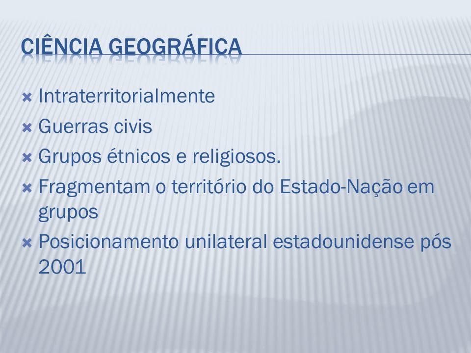 Intraterritorialmente Guerras civis Grupos étnicos e religiosos. Fragmentam o território do Estado-Nação em grupos Posicionamento unilateral estadouni