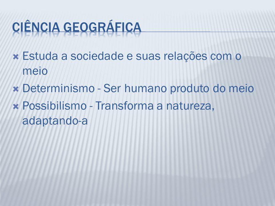 Estuda a sociedade e suas relações com o meio Determinismo - Ser humano produto do meio Possibilismo - Transforma a natureza, adaptando-a