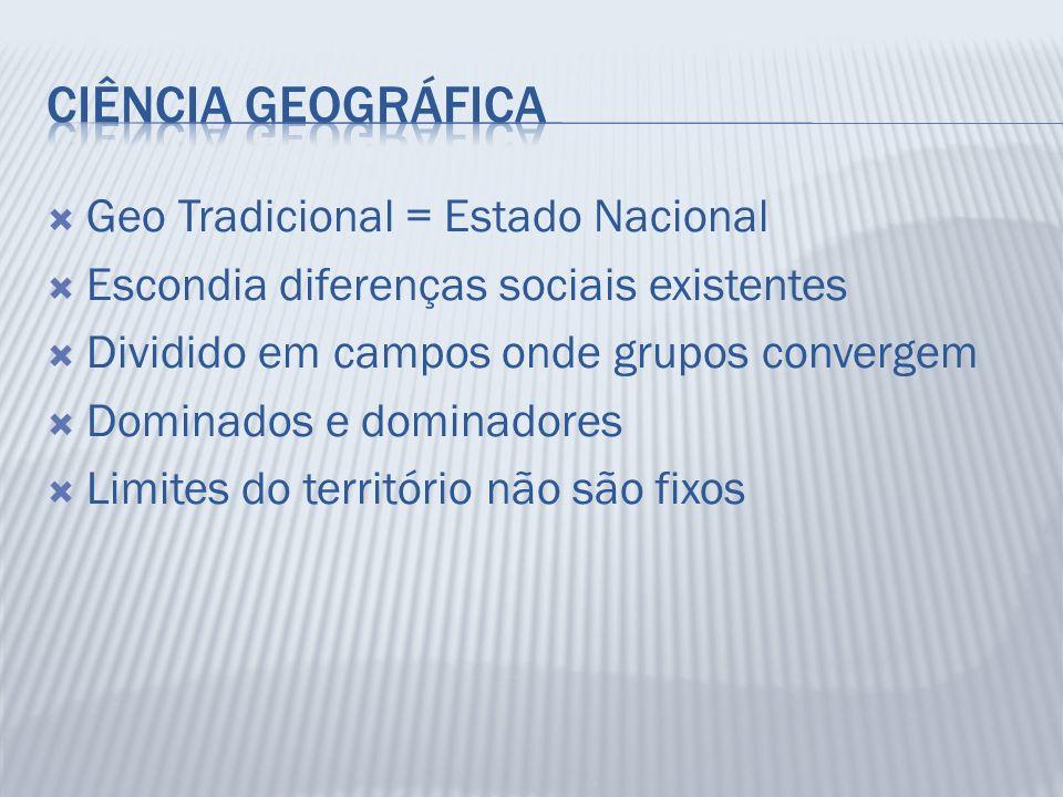 Geo Tradicional = Estado Nacional Escondia diferenças sociais existentes Dividido em campos onde grupos convergem Dominados e dominadores Limites do t