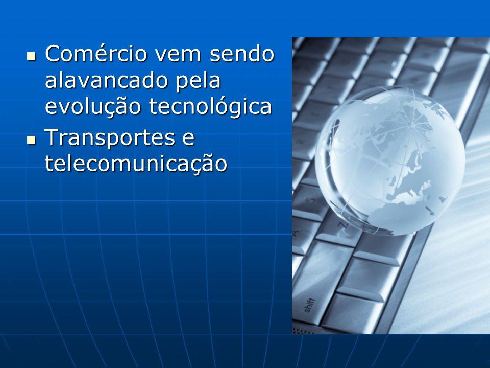 Comércio vem sendo alavancado pela evolução tecnológica Comércio vem sendo alavancado pela evolução tecnológica Transportes e telecomunicação Transportes e telecomunicação