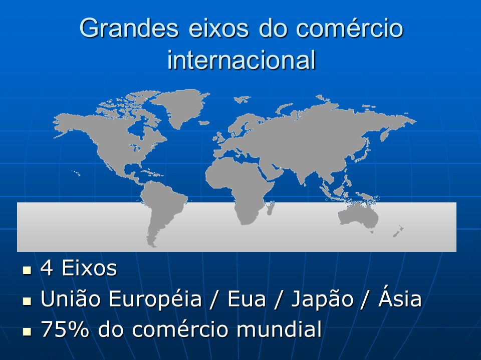 Grandes eixos do comércio internacional 4 Eixos 4 Eixos União Européia / Eua / Japão / Ásia União Européia / Eua / Japão / Ásia 75% do comércio mundial 75% do comércio mundial