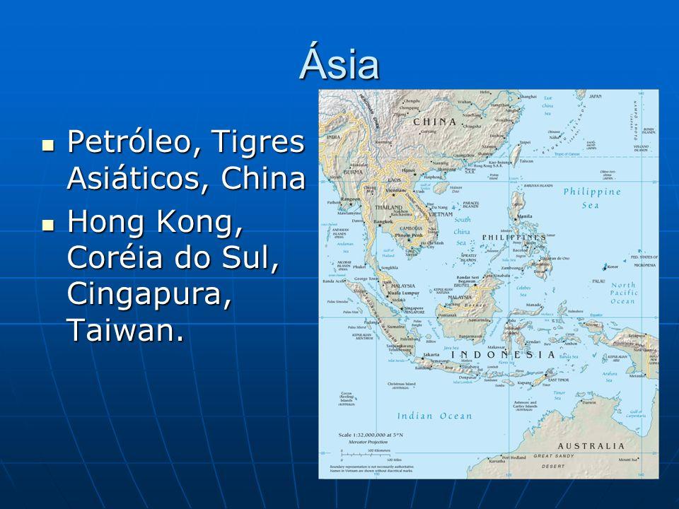Ásia Petróleo, Tigres Asiáticos, China Petróleo, Tigres Asiáticos, China Hong Kong, Coréia do Sul, Cingapura, Taiwan.