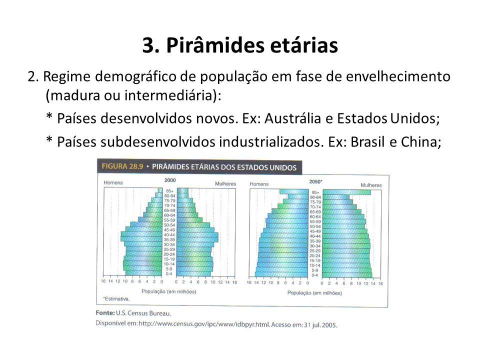 3. Pirâmides etárias Quanto à estrutura etária da população podemos classificar os países do mundo em três tipos principais de regimes demográficos: 1