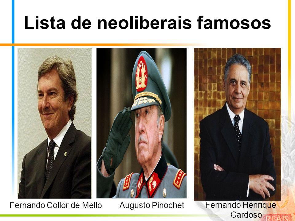 Lista de neoliberais famosos Augusto PinochetFernando Collor de Mello Fernando Henrique Cardoso