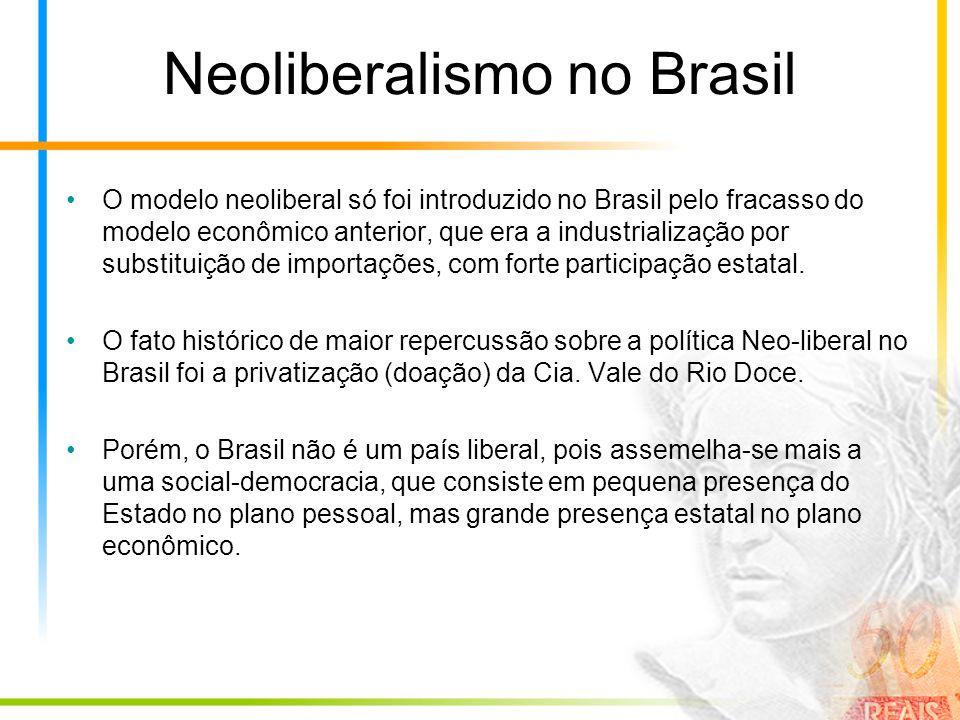 Neoliberalismo no Brasil O modelo neoliberal só foi introduzido no Brasil pelo fracasso do modelo econômico anterior, que era a industrialização por substituição de importações, com forte participação estatal.