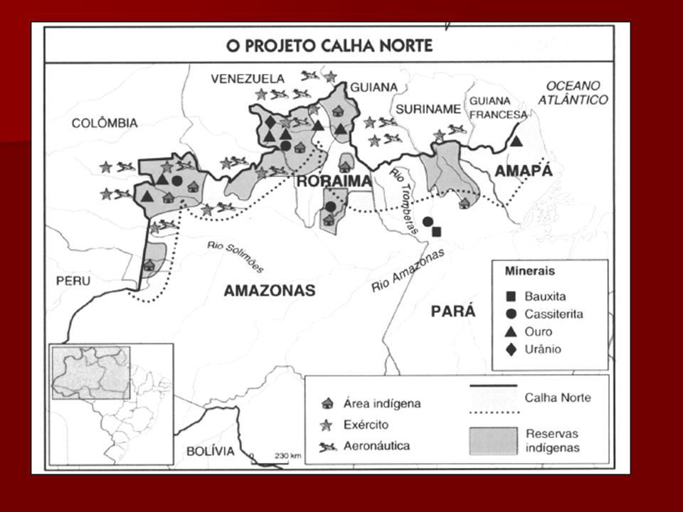 PROJETO CALHA NORTE OBJETIVOS PRINCIPAIS: OBJETIVOS PRINCIPAIS: - organizar áreas de garimpo - organizar áreas de garimpo - minimizar conflitos entre