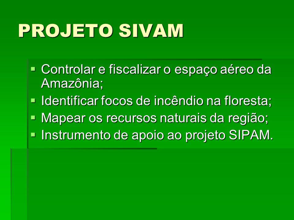 PROJETO SIVAM Controlar e fiscalizar o espaço aéreo da Amazônia; Controlar e fiscalizar o espaço aéreo da Amazônia; Identificar focos de incêndio na floresta; Identificar focos de incêndio na floresta; Mapear os recursos naturais da região; Mapear os recursos naturais da região; Instrumento de apoio ao projeto SIPAM.