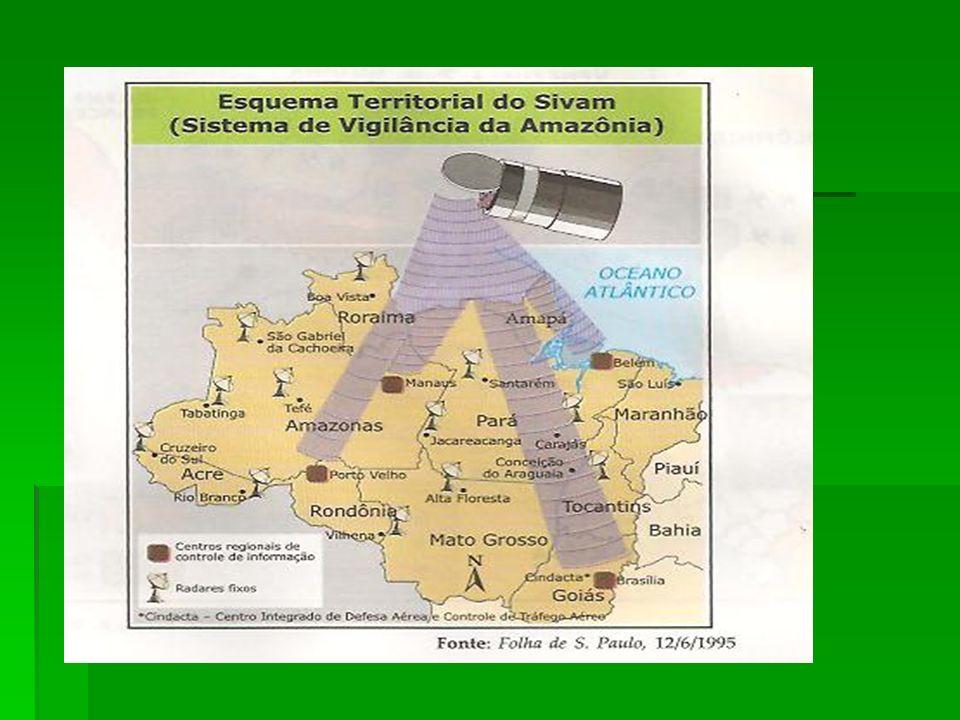 PROJETO SIVAM Controlar e fiscalizar o espaço aéreo da Amazônia; Controlar e fiscalizar o espaço aéreo da Amazônia; Identificar focos de incêndio na f