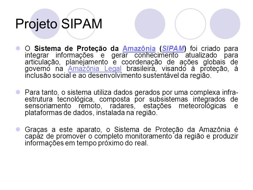 Projeto SIPAM O Sistema de Proteção da Amazônia (SIPAM) foi criado para integrar informações e gerar conhecimento atualizado para articulação, planejamento e coordenação de ações globais de governo na Amazônia Legal brasileira, visando à proteção, à inclusão social e ao desenvolvimento sustentável da região.AmazôniaSIPAMAmazônia Legal Para tanto, o sistema utiliza dados gerados por uma complexa infra- estrutura tecnológica, composta por subsistemas integrados de sensoriamento remoto, radares, estações meteorológicas e plataformas de dados, instalada na região.