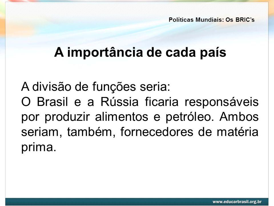 A divisão de funções seria: O Brasil e a Rússia ficaria responsáveis por produzir alimentos e petróleo. Ambos seriam, também, fornecedores de matéria