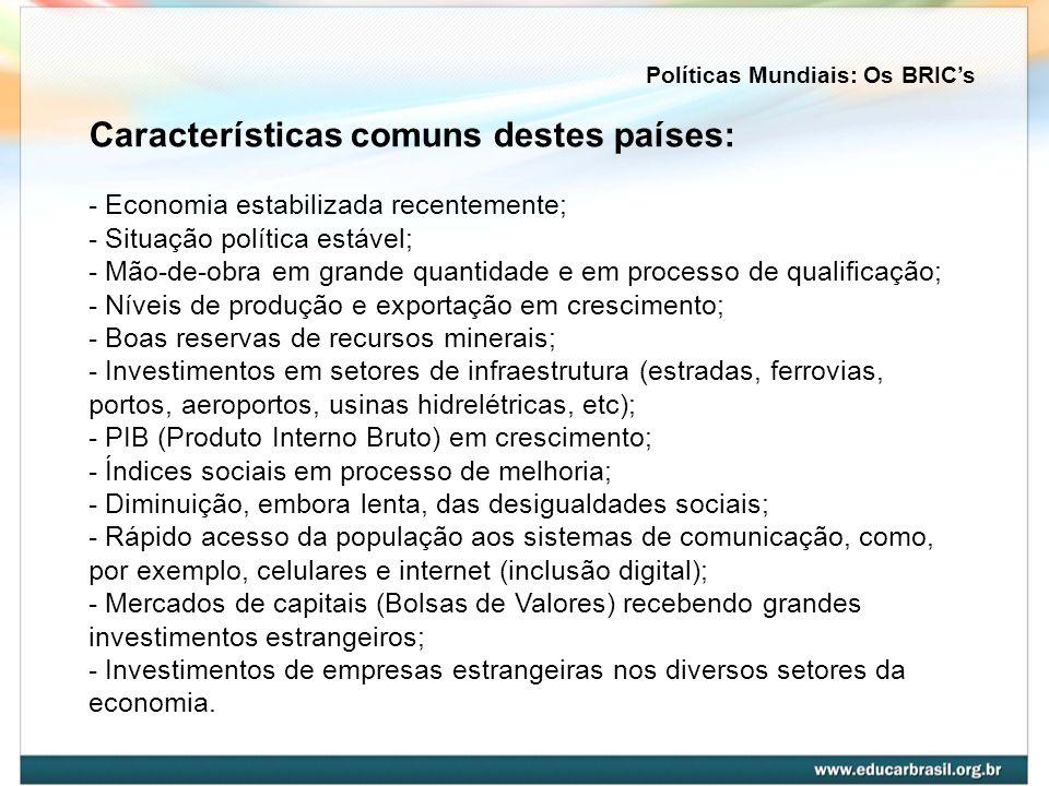 O Brasil desempenharia o papel de país exportador agropecuário, tendo como principais produtos a soja e o boi.