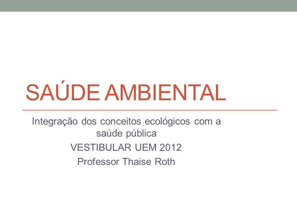 SAÚDE AMBIENTAL Integração dos conceitos ecológicos com a saúde pública VESTIBULAR UEM 2012 Professor Thaise Roth