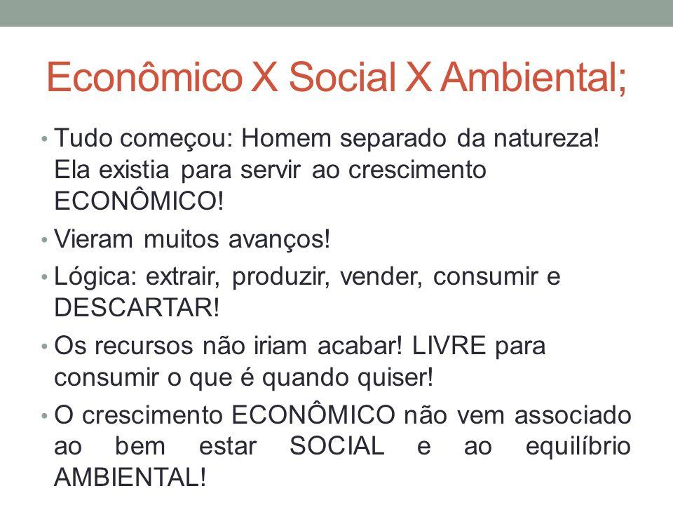 Econômico X Social X Ambiental; Tudo começou: Homem separado da natureza! Ela existia para servir ao crescimento ECONÔMICO! Vieram muitos avanços! Lóg