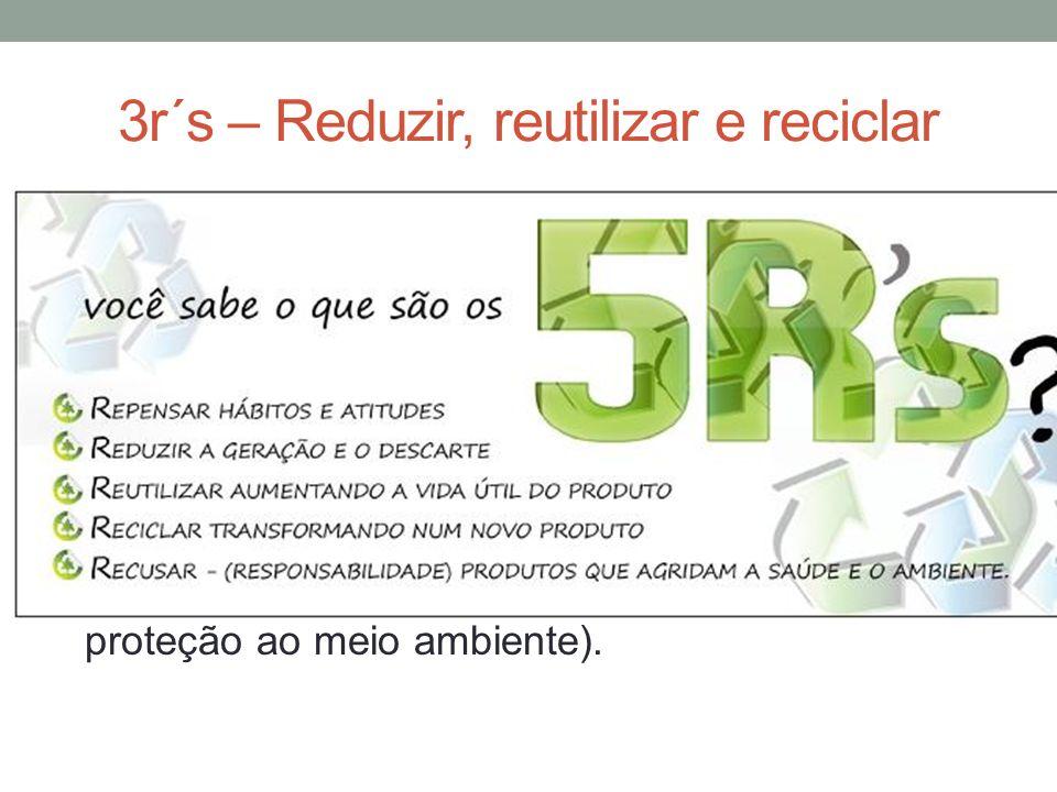 3r´s – Reduzir, reutilizar e reciclar 3 Rs da sustentabilidade, são ações práticas que visam estabelecer uma relação mais harmônica entre consumidor e