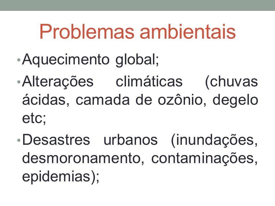 Problemas ambientais Aquecimento global; Alterações climáticas (chuvas ácidas, camada de ozônio, degelo etc; Desastres urbanos (inundações, desmoronam