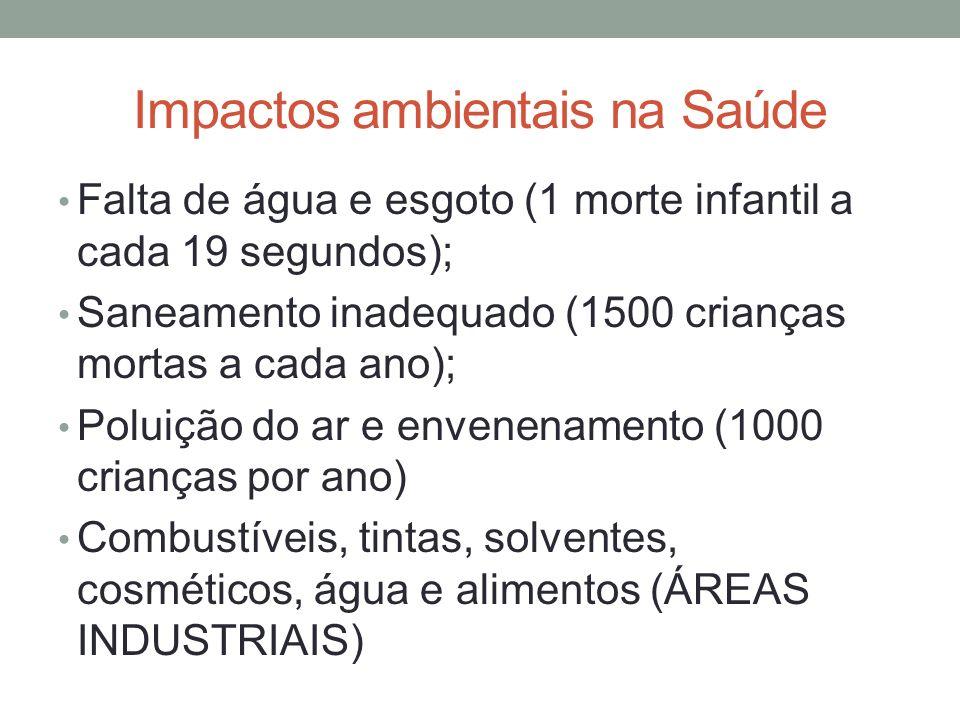 Impactos ambientais na Saúde Ondas de calor (70 mil mortes EUROPA); Melanoma (200 mil novos casos – 65 mil mortes); Cegueira por catarata (5% do total); Infecção hospitalar Câncer;