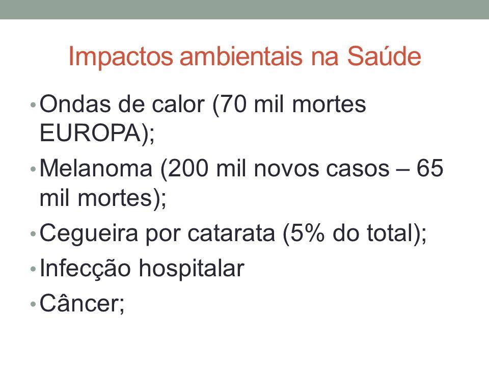 Impactos ambientais na Saúde Ondas de calor (70 mil mortes EUROPA); Melanoma (200 mil novos casos – 65 mil mortes); Cegueira por catarata (5% do total