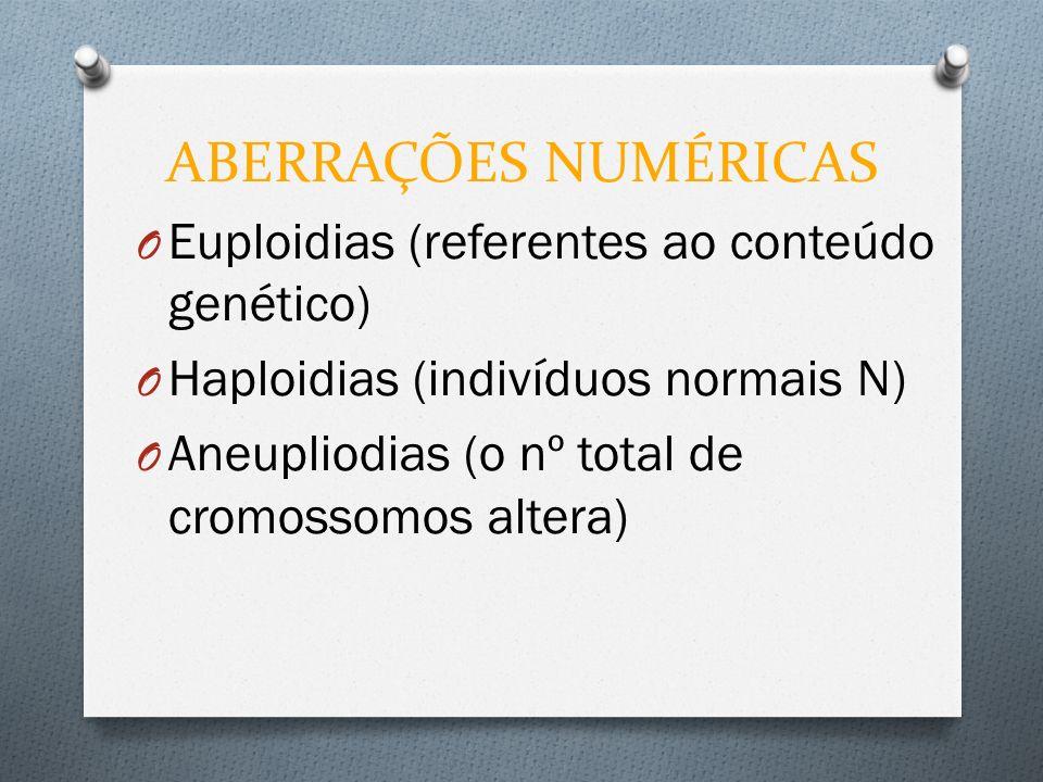 ABERRAÇÕES NUMÉRICAS O Euploidias (referentes ao conteúdo genético) O Haploidias (indivíduos normais N) O Aneupliodias (o nº total de cromossomos alte
