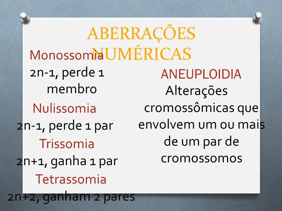 ABERRAÇÕES NUMÉRICAS ANEUPLOIDIA Alterações cromossômicas que envolvem um ou mais de um par de cromossomos Monossomia 2n-1, perde 1 membro Nulissomia