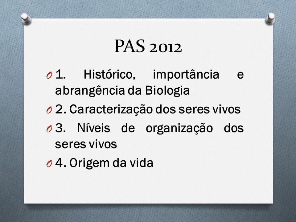 PAS 2012 O 1. Histórico, importância e abrangência da Biologia O 2. Caracterização dos seres vivos O 3. Níveis de organização dos seres vivos O 4. Ori