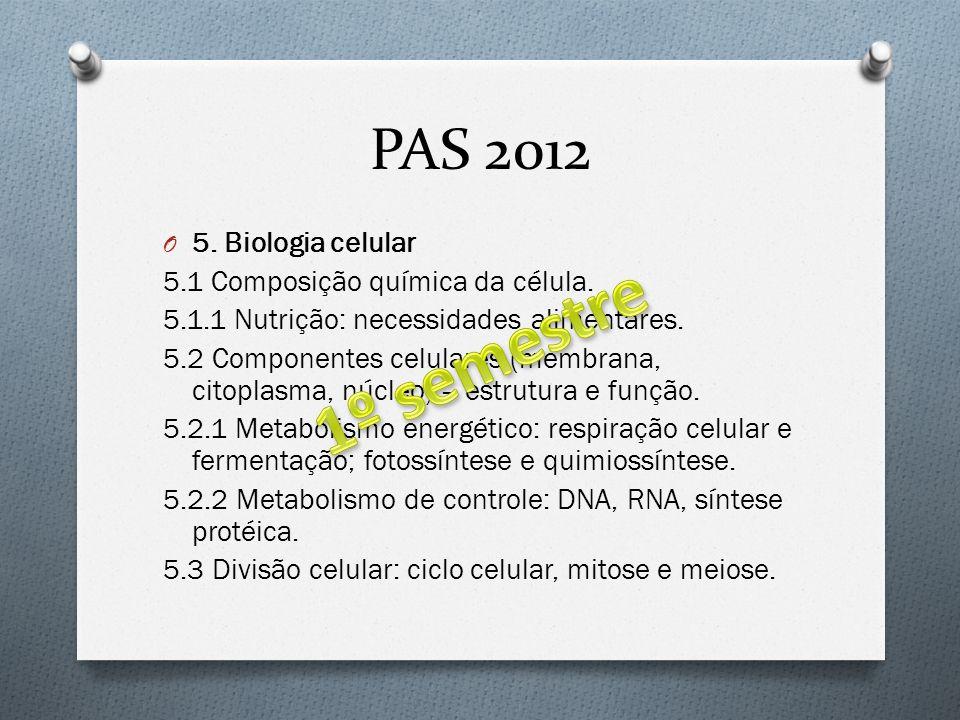 PAS 2012 O 5. Biologia celular 5.1 Composição química da célula. 5.1.1 Nutrição: necessidades alimentares. 5.2 Componentes celulares (membrana, citopl