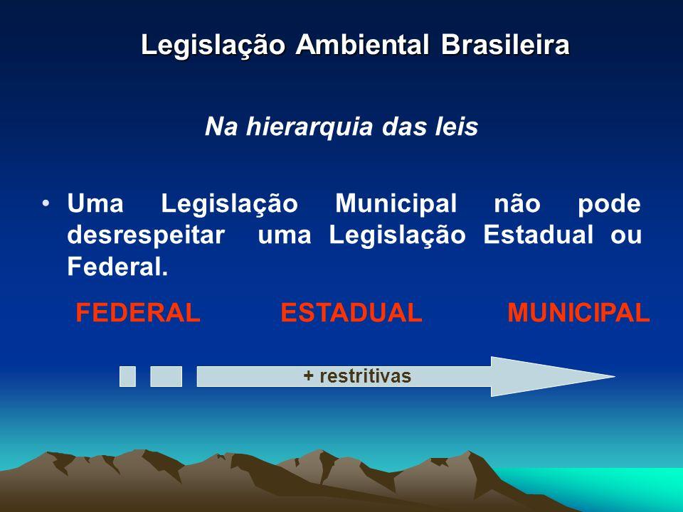 Legislação Ambiental Brasileira Na hierarquia das leis Uma Legislação Municipal não pode desrespeitar uma Legislação Estadual ou Federal. FEDERALESTAD