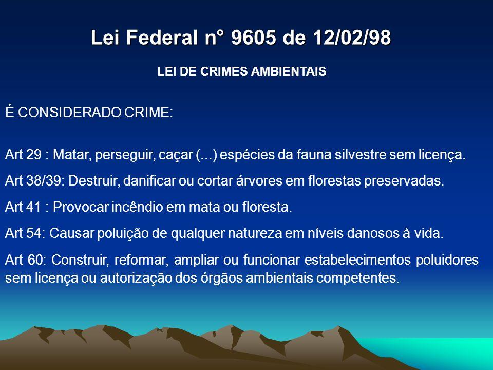 LEI DE CRIMES AMBIENTAIS É CONSIDERADO CRIME: Art 29 : Matar, perseguir, caçar (...) espécies da fauna silvestre sem licença. Art 38/39: Destruir, dan