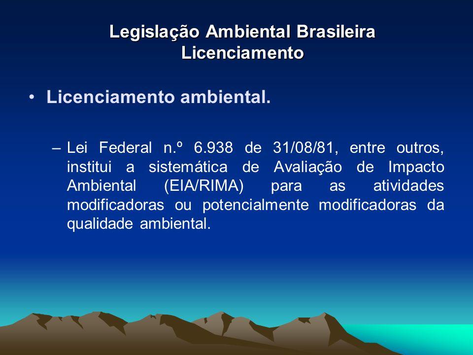 Legislação Ambiental Brasileira Licenciamento Licenciamento ambiental. –Lei Federal n.º 6.938 de 31/08/81, entre outros, institui a sistemática de Ava