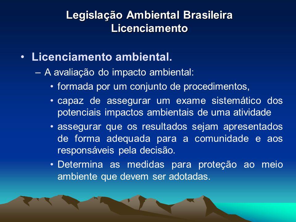 Legislação Ambiental Brasileira Licenciamento Licenciamento ambiental. –A avaliação do impacto ambiental: formada por um conjunto de procedimentos, ca